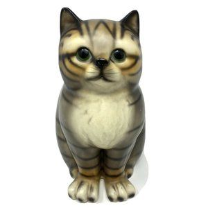 Brown Cat Ceramic Figurine With Green Eyes